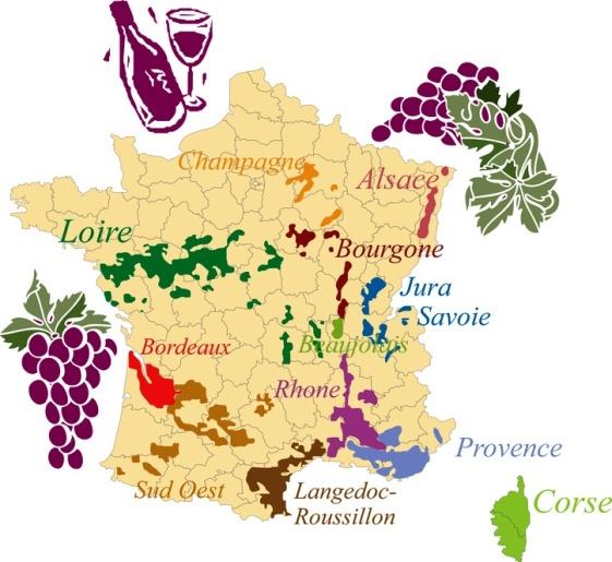 mapa vino francia
