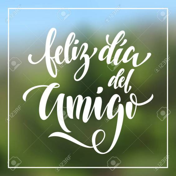 Feliz Dia del Amigo. Friendship Day greeting card in Spanish